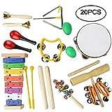 Lot de 20 instruments de musique en bois - Jouet - Percussion - Éducation au rythme et à la musique -...
