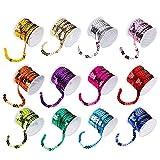 ZARRS Rouleaux de Paillettes,12 Pack Plastique Perles de Paillette Sequins pour Fabrication de Bijoux...