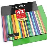 ARTEZA Feuilles de vinyle autocollant | Lot de 42 | 30,4 X 30,4 cm | Vinyle adhésif aux couleurs vives et...