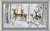 Antilopes au point de croix compté Motif forêt 14 fils/cm²-Neige - 69 cm X 43 cm