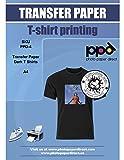 PPD A4 Jet d'encre Papier transfert application avec un fer à repasser pour T Shirt foncé x 20 Feuilles...