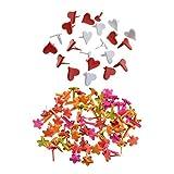 Sharplace 200 Pièces Coeur Forme De Fleur Mini Brads Papier Attache Scrapbooking Artisanat