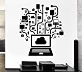 Ordinateur Réseau Social Jeu Internet Teen Art Vinyle Conception Sticker Mural Home Room Decor PVC Mur...