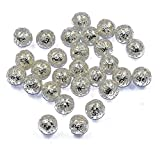 50pcs 10mm Métal Perles D'espacement Rondes Bijoux Bricolage Faisant Charmes D'argent Lâches