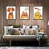 Stickers Muraux Mignon et Drôle Animal Chien Chat Chat Poussin Peinture Cadre Creative Chambre Chambre...
