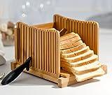 Kenley Trancheuse à Pain - Tranche-Pain en Bambou avec Guide de Decoupe - Slicer Pliable pour Sandwich,...