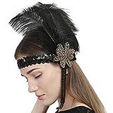 Femme Coiffure Vintage Bandeau Plume de Paon avec Plume Strass Décoration de Cheveux Déguisement de fête...
