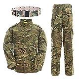 QMFIVE Combat Tactique, Camouflage Camouflage pour Hommes Combat BDU Veste Chemise et Pantalon avec Ceinture...