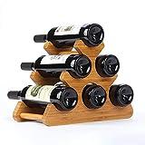 Kitrack 6 Casier à Vin Bouteille éTagèRe Autoportante DéCoration De Bureau Petit en Bois