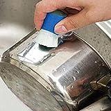 Taottao 1pièce en acier inoxydable Rod Magic Stick Dérouillant Nettoyage Brosse de lavage Nettoyage du pot...