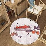 MDD Décoration de la maison Tapis créatif tapis rond, Fleurs de jardin Populaire Anti-Slip Machine De...