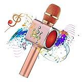 Microphone Sans Fil Karaoké Portable Bluetooth avec 2 Haut-Parleur Bluetooth Intégré,4 en 1 Pour Android &...