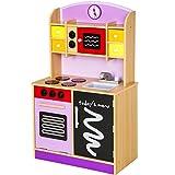 TecTake Cuisine en bois pour enfants jeu du rôle d'imitation chef set kit pourpre