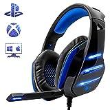 Beexcellent Micro Casque Gaming PS4, Casque PC Ultra-Léger Stéréo Lumière Stéréo Bass Anti-Bruit LED...