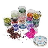 Perles de Rocaille(16000 pcs) - Assortiment de Perles en Verre 20 Couleurs Différentes - Petites Perle 2mm -...