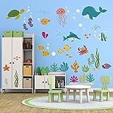 decalmile sous la Mer Stickers Muraux Enfant Animaux Marins Dauphin Poisson Autocollant Décoration Murale...