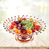 CanKun Fruit Basket Bowl Home Crafts Ornements , rose gold , B
