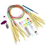 LIHAO 10 Paires Aiguilles Circulaires Bambou 3.5-10.0mm avec Accessoires Tricot et Crochet