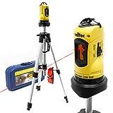 WilTec Niveau Laser Rotatif Auto-nivelant avec trépied 1,2m pour la Mesure des Angles et Surface