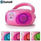 Lauson Radio CD Bluetooth | USB | Lecteur CD Portable pour Enfants | Lumière LED Effet Disco | AM/FM CP451...