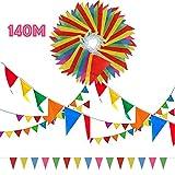 SERWOO 290 Pcs Multicolor Pennant Banner, 140M Décorations en Tissu de Nylon Drapeaux Fanion Triangle...