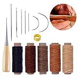 LATTCURE 14 PCS Kit Outils de Cuir Kit Couture Bricolage DIY Accessoires à Coudre 5 Fil Ciré Outils à Main...