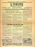USINE (L') [No 19] du 11/05/1940 - LE REGIME FISCAL DU TEMPS DE GUERRE - LA COMPTABILITE SPECIALE
