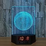 YDBDB Nouveau Basket-ball 3D Lampe Horloge Nuit Lumière Usb Led Touch Veilleuse 7 Couleurs Changer Acrylique...