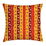 HOJJP Red and Brown Throw Pillow Cushion Cover, Vertical Striped Pattern Cat and Dog Paw Traces Footprints...