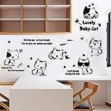 Stickers Muraux Animal Chat Drôle Peinture Mignonne Noir et Blanc Simple Salle Des Enfants Porche Escaliers...