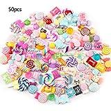 huyiko 30/50 Pcs Mixte Coloré Résine Lollipop Bonbons Cabochons DIY Artisanat Mobile Téléphone Shell...