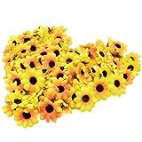 Lot de 100 Têtes de fleurs artificielles Gerbera Daisy pour fête de mariage, bricolage. Plastique.