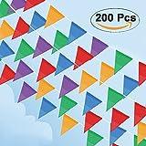 Cookey 200 Pcs Multicolor Pennant Banner, 100M Décorations en Tissu de Nylon Drapeaux pour Festivités Grand...