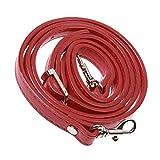 Anse Long de Sac Bandoulière Cuir PU avec Crochet d'Argent Amovible Accessoire Femme Diy - Rouge