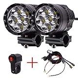 HLH-Motorcycle Accessories Facile à Installer Moto LED Phare 4000LM 60W Spot Ampoule étanche Phare 12v-85v...