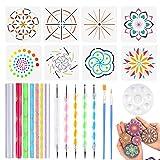 Lot de 24 Mandala Dotting outils Y Compris tiges en acrylique, double pointes Boule stylet stylos, bac à...