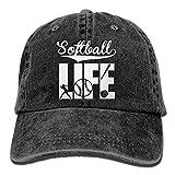 Mens/Womens Softball Life Denim Fabric Baseball Cap Adjustable Hip Hop Caps