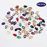 Perle Goutte d'Eau (225 Pièces) - Perle de Verre à Facettes Assortiment 15 Couleurs (15 par Couleur) 12 X 8...