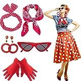 Yansion Lot d'accessoires de déguisement style années 50, écharpe, œil de chat, lunettes, bandeau, boucles...
