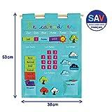 LUDI - Calendrier bleu pour enfant dès 3 ans. Panneau en tissu brodé 53 x 38 cm. Accroche murale avec une...