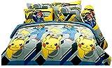 Pokémon officiel Jaune Gris ensemble de drap de lit, drap-housse, taie d'oreiller, housse de traversin (non...