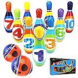 YIMORE Jeux de Quilles avec 2 balles en Mousse 10 Broches de Bowling Plein Air Jouet Cadeaux pour Enfants...