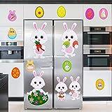 Chuangdi 53 Pièces Autocollants de Fenêtre de Pâques Stickers Muraux d'Oeufs de Lapin de Pâques...