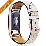 Mornex Bracelet Compatible Fitbit Charge 2 en Cuir,Bande de Remplacement Réglable Sangle Rechange Métal...