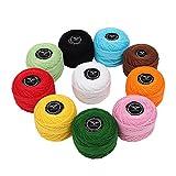Fil pour crochet - Fil à tricoter 10 pièces - Fil de Coton pour crochet 20 Grammes/130 Mètres - Fil pour...