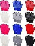 12 Paires de Gants d'Hiver pour Enfants Mitaines de Doigts Complets Coloré Gants Tricotés pour les Garçons...