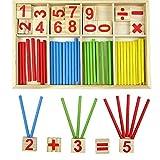 Daorier 52PCS Jouet de Calcul Mathématique Boîte en bois Bébé Jouet Educatif En Bois Stick Bâton Chiffres...