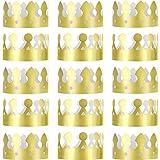 Jovitec 24 Pièces Roi Couronnes d'or Feuille d'or Papier Couronne de Fête Chapeau Bonnet Célébration...