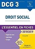 DCG 3 - Droit social - 2018/2019 - L'essentiel en fiches