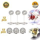 Supports pour numéro de table Oibtech Lot de 24Sliver Table carte Photo Menu Nom support pour fête de...